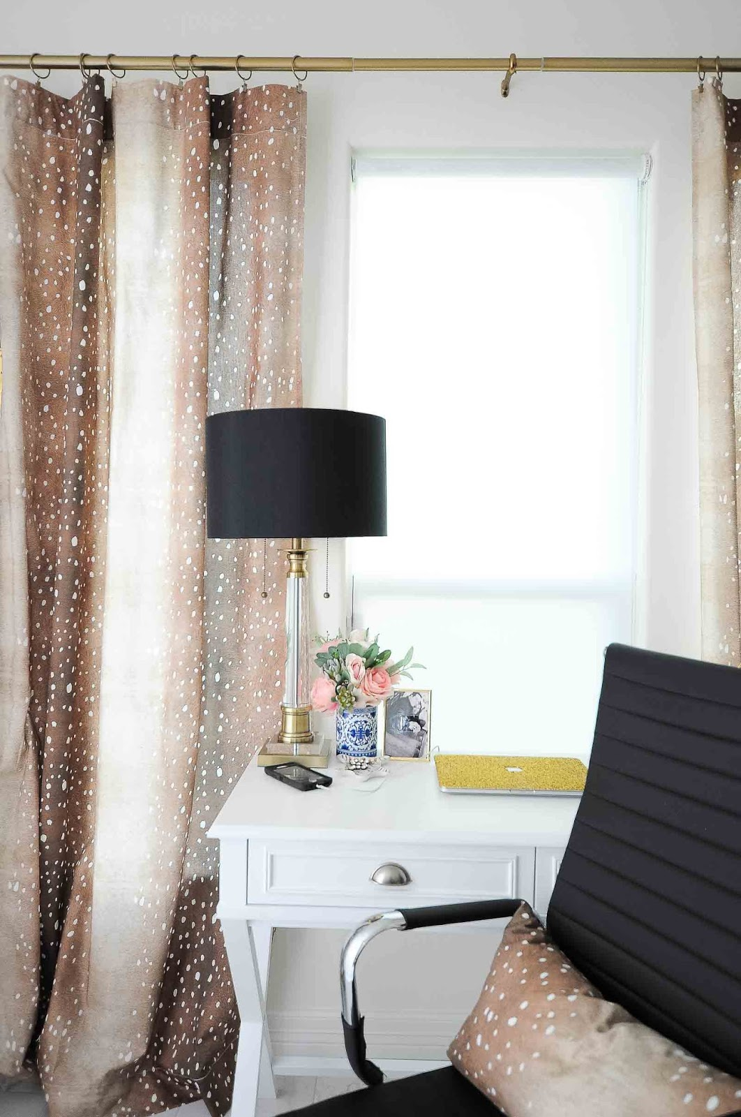 Fawn curtains (antelope curtains) look beautiful on this brass curtain rod with crystal desk lamp and feminine office home decor.