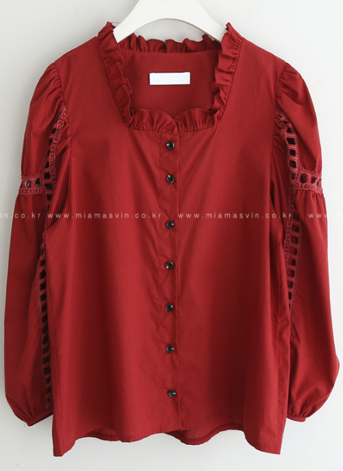 Frill Trim Balloon Sleeve Blouse