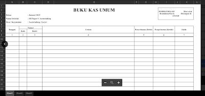 Contoh Buku Kas Umum Excel (Formulir BOS-K3) 2016 SD dan SMP