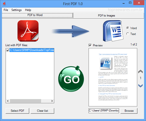 como transformar um arquivo em pdf para documento do word