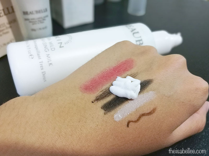 Using Beaubelle Cleansing Milk to remove makeup
