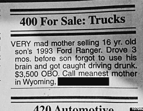 Meanest Mom sells teens trunk after DUI. Meanest Mom marchmatron.com