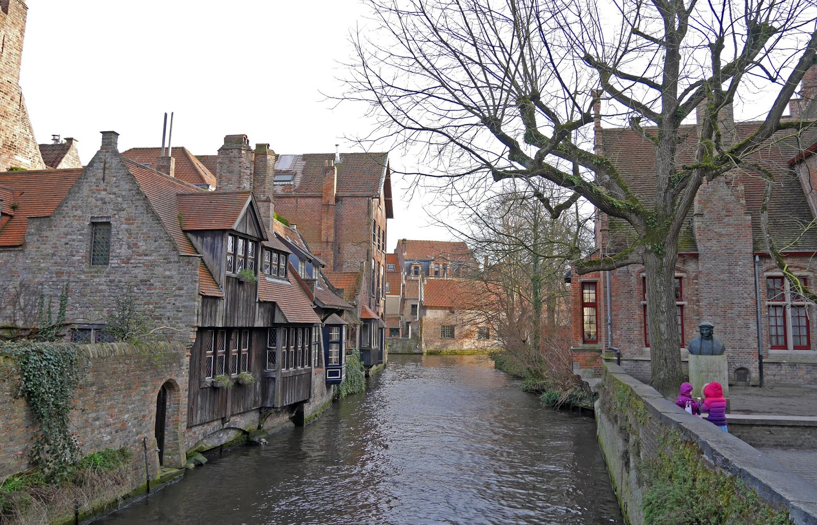 Canal running through Arentshof Park, Bruges