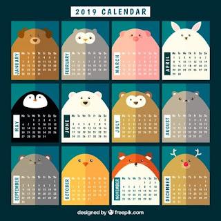 Bonito calendario 2019 con animales