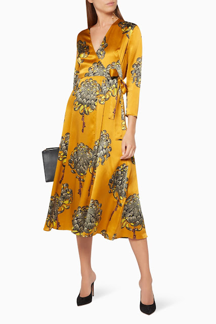Yellow Gabrielle Printed Wrap Dress 1799 AED