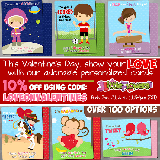 Personalized Valentine's Cards for Children (discount code included) ~ 3 Little Flowers - The Blog