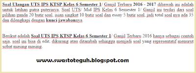 Soal Ulangan UTS IPS KTSP Kelas 6 Semester 1/ Ganjil Terbaru 2016 - 2017
