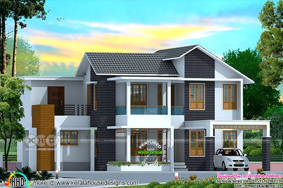 2325 sq-ft, 4 bedroom mixed roof home design