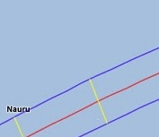 Path of eclipse visibility over Kiribati.