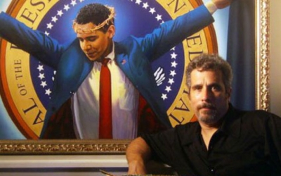 obama as jesus painting poster
