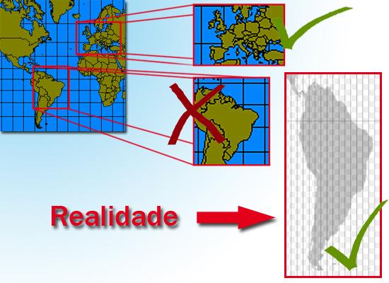 Comparação real de tamanho Europa América do Sul