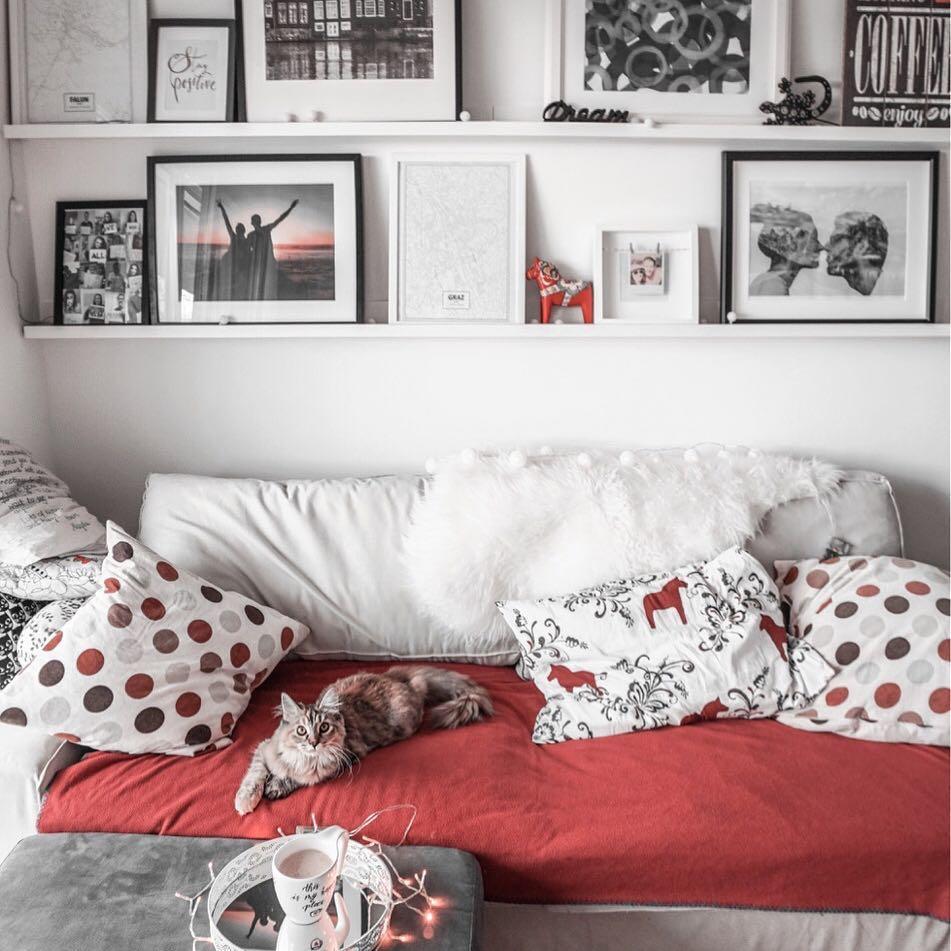 dom, wystrój wnętrz, styl skandynawski, ściana z ramkami, ramki na ścianie, półka na ramki, kot, maine coon, blog lifestyle, blog podróżniczy, thedailywonders