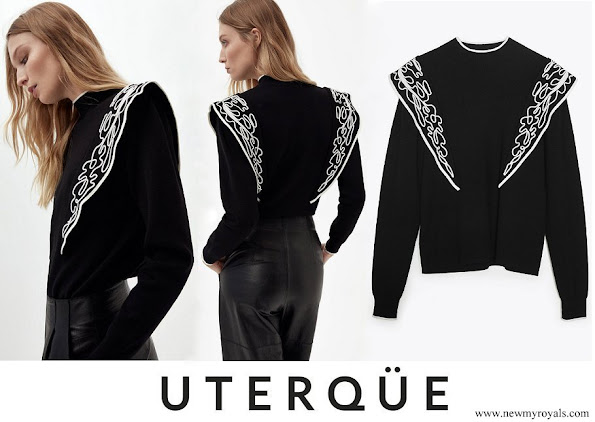 Queen Letizia wore Uterqüe sweater with embroidered shoulders