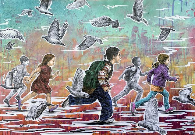 """No Borders II""- Acrylics, spraypaint, wheat-paste on canvas, 84x120cm © STMTS 2018"