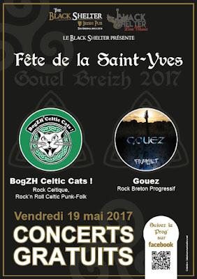 Affiche concert Black Shelter - Fête de la St Yves - fête de la Bretagne - Gouel Breizh