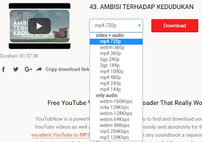 pilih format video dan resolusinya yang ingin kita download