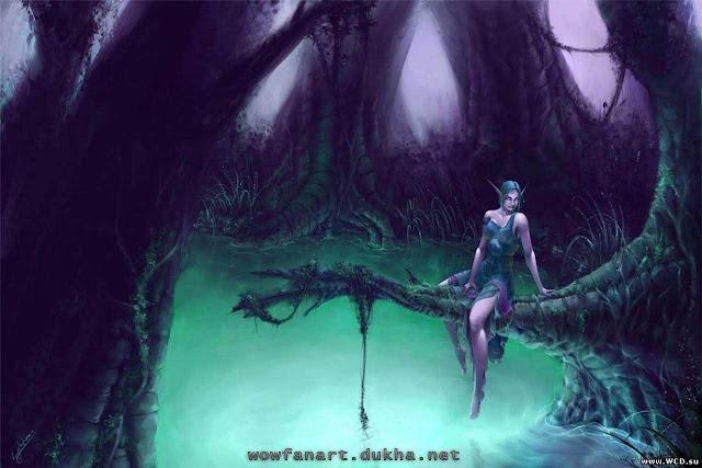 Ночная эльфийка одна над водой