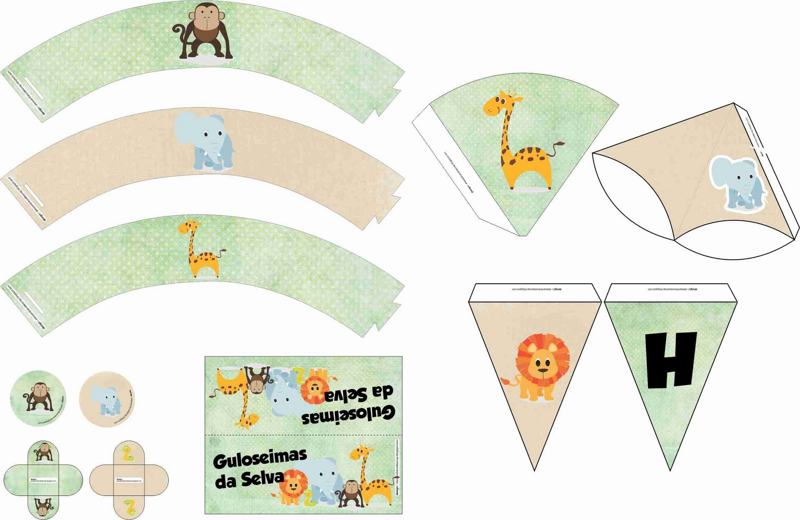 B.abá Festas: Kit personalizado para festa Safari