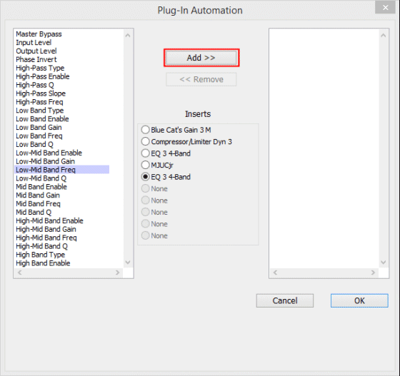 Plug-in Automation Window Add Plug-in Pro Tools