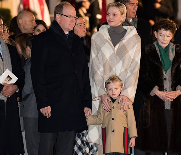 Princess Charlene wore Loro Piana Cashmere Geometric Shearling Hood Coat