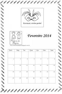 Calendário fevereiro 2014