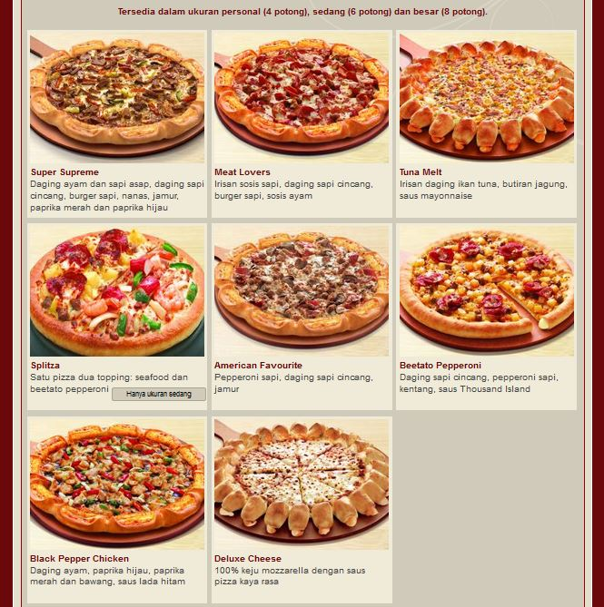 Menu For Pizza Hut Delivery Amusement Parks In Nj For Kids