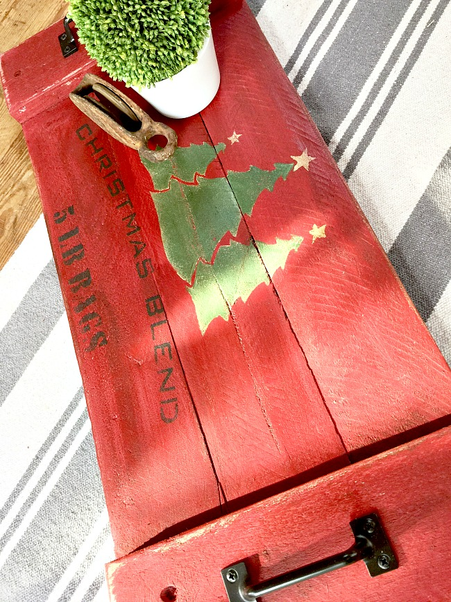 Red rustic Christmas tray made from pallet wood and stenciled www.homeroad.net