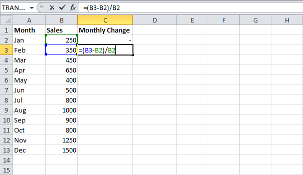 Percent Change Formula in MS Excel