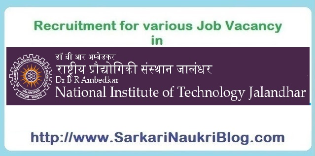 Naukri Vacancy Recruitment NIT Jalandhar