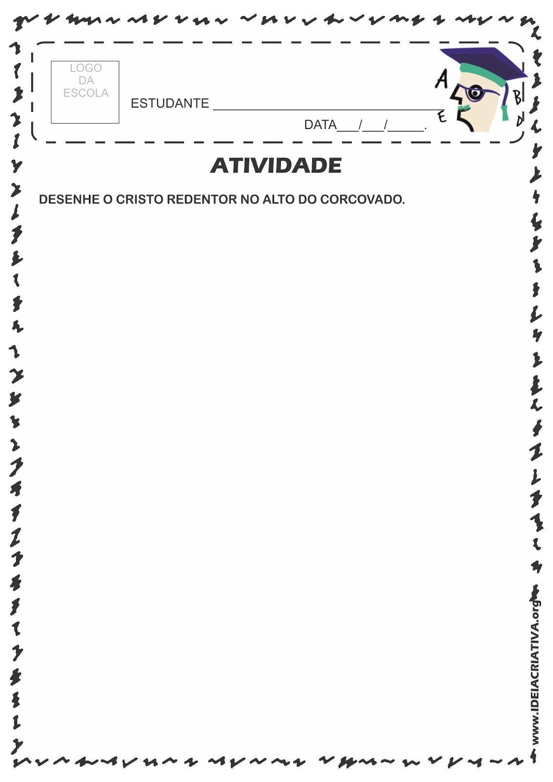 Atividade Rio 450 Anos Desenho de Cartão postal Cristo Redentor no Morro do Corcovado