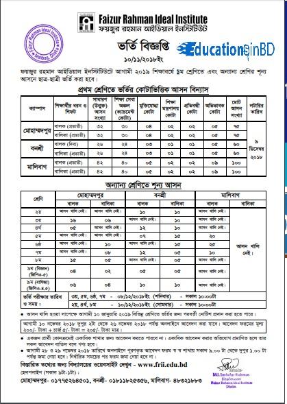Faizur Rahman Ideal Institute AdmissionCircular Result 2018-19