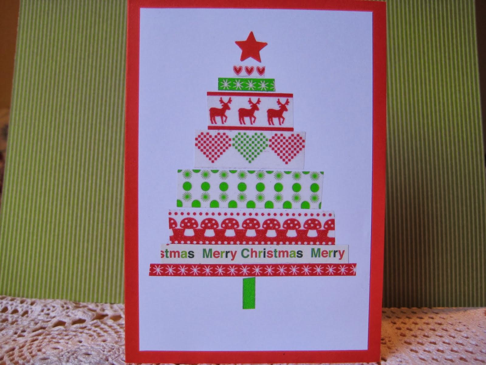 karos kreativkram einfache weihnachtskarten mit washi tape. Black Bedroom Furniture Sets. Home Design Ideas