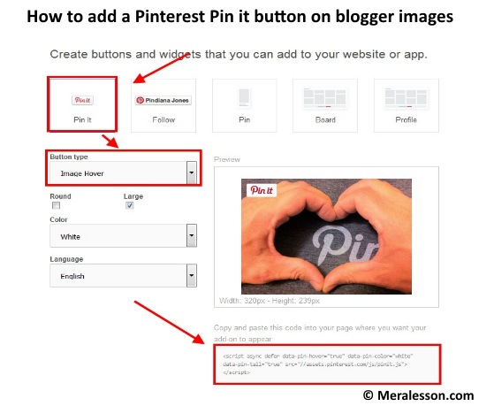 How to add a Pinterest Pin it button on blogger images