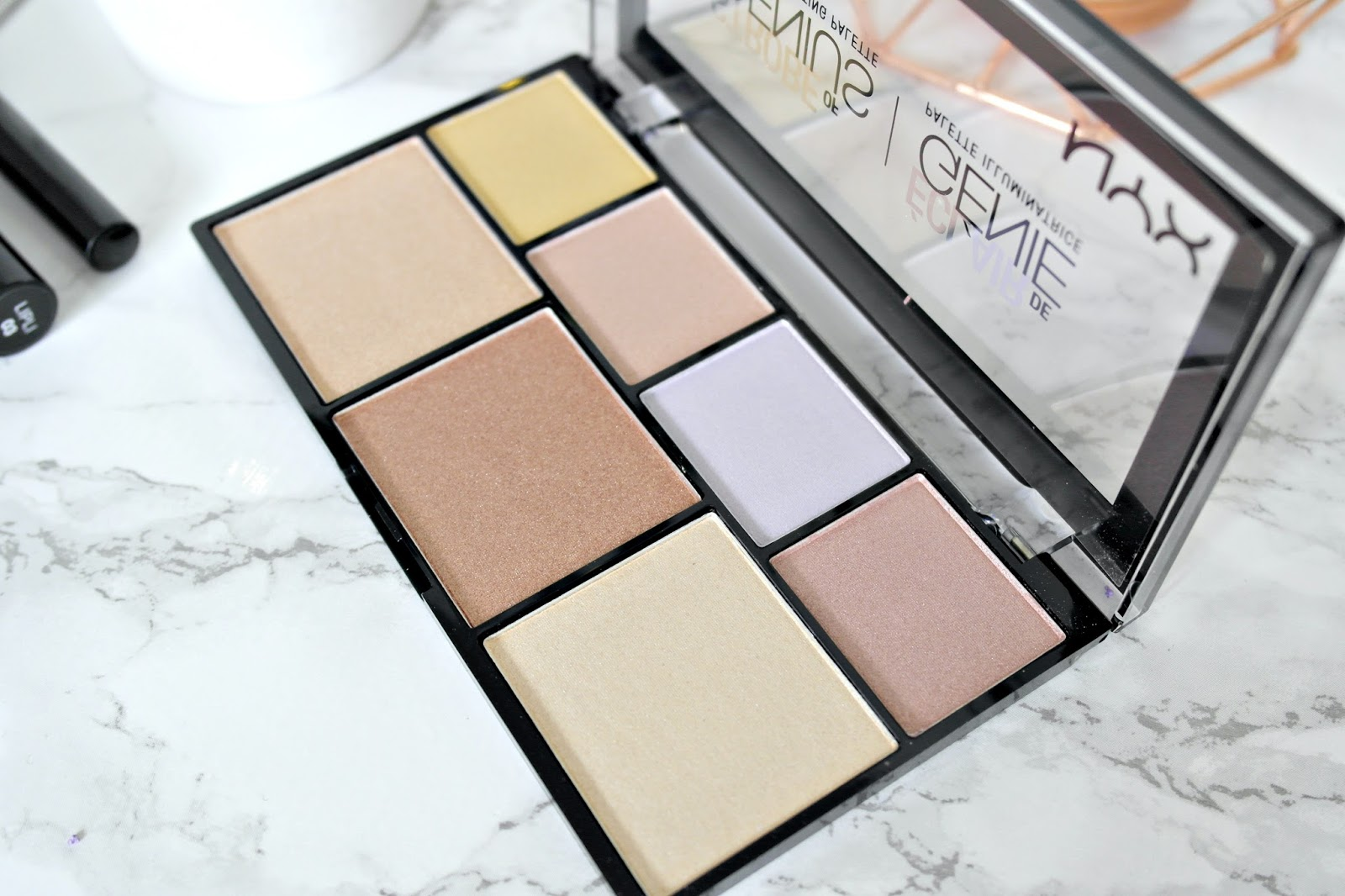 NYX Strobe of Genius Illuminating Palette swatches, review