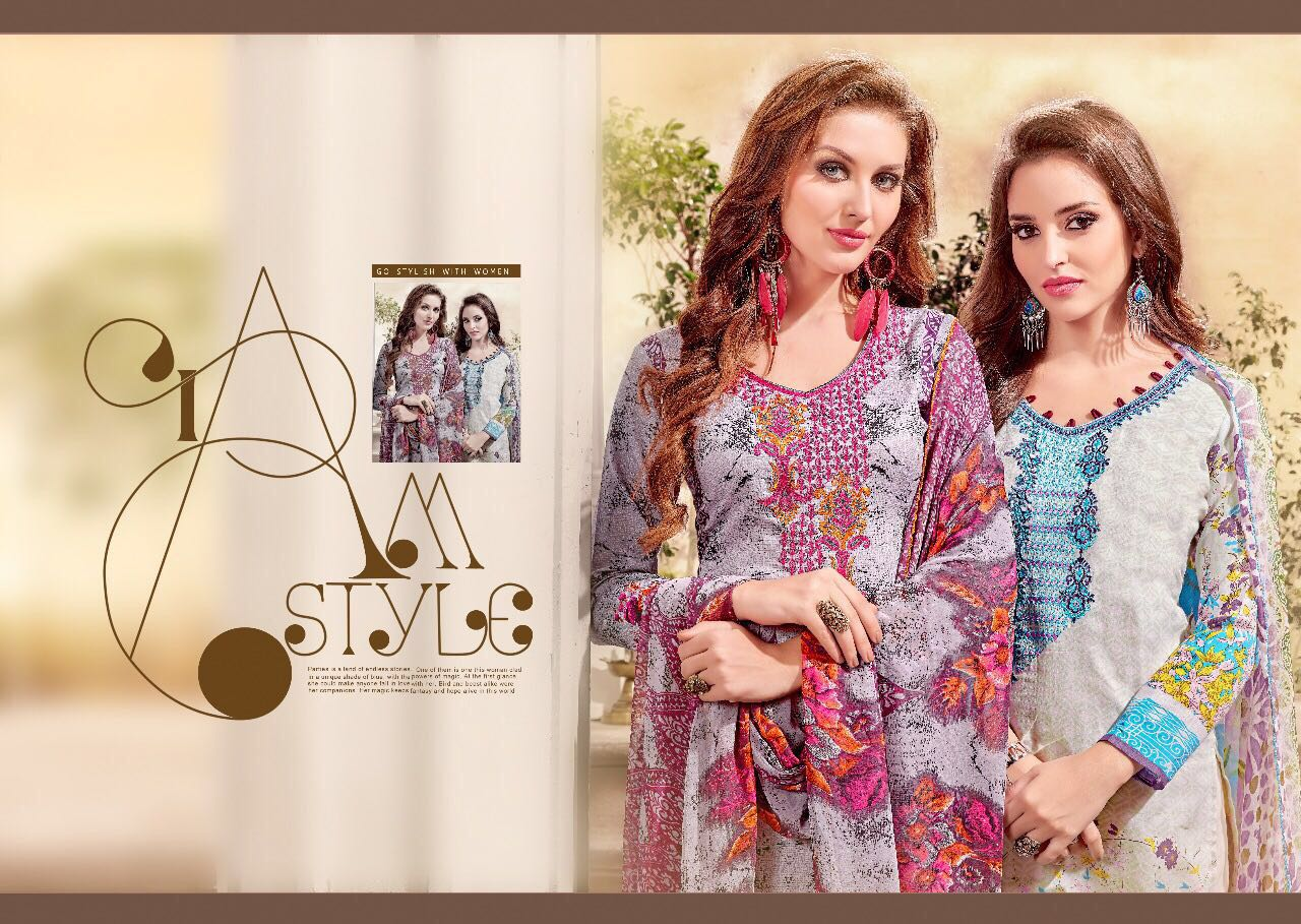 ALMAS New Arrival Designer shatin cotton print with self embroidery work Dress Material