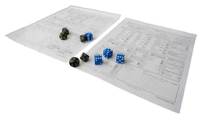 Character sheets with six and ten sided dice.