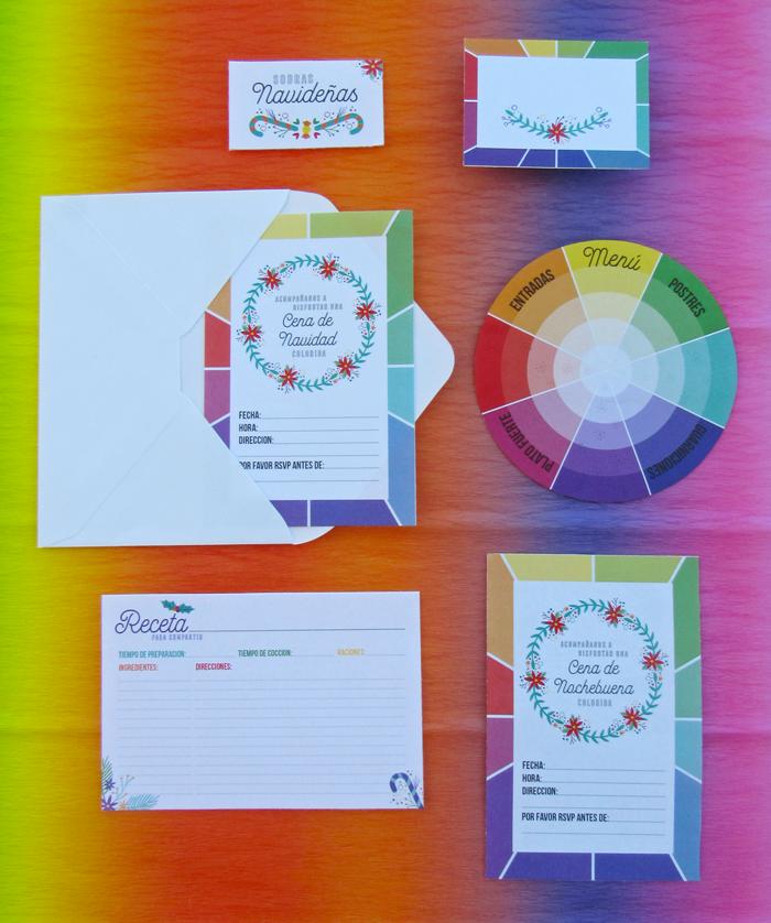 Kit imprimible de cena de Nochebuena, Navidad, descarga gratuita, rueda de colores, círculo cromático, mesa, fiestas, decoración
