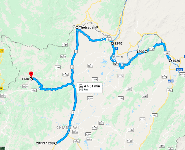 Route from Chiang Khong to Mae Salong in Thailand