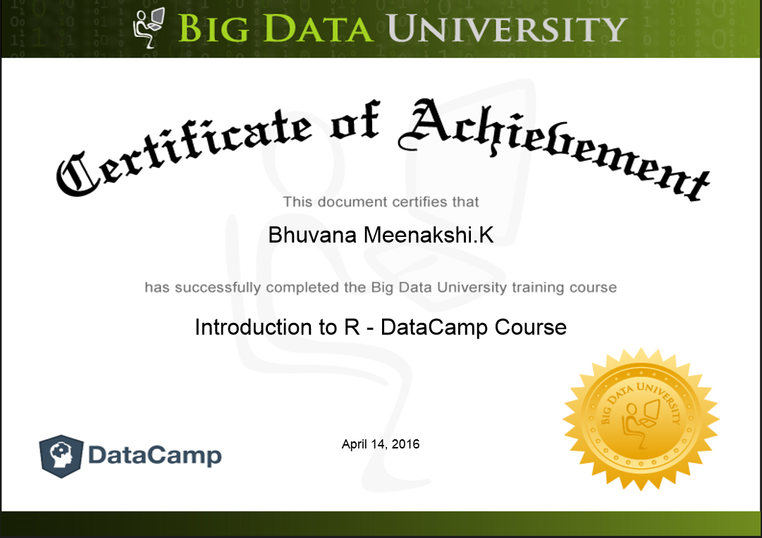 Big data certification on introduction to r by big data university certification on introduction to r by big data university xflitez Images