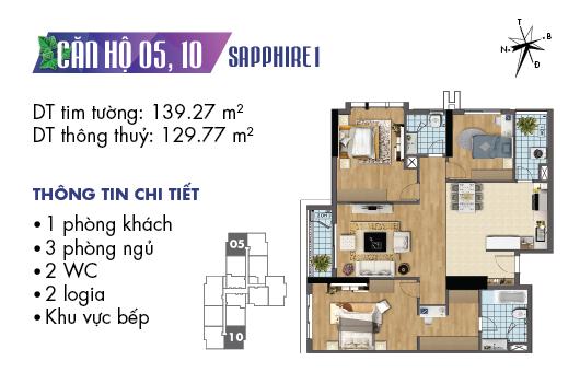 căn hộ 05 và 10 sapphire 1