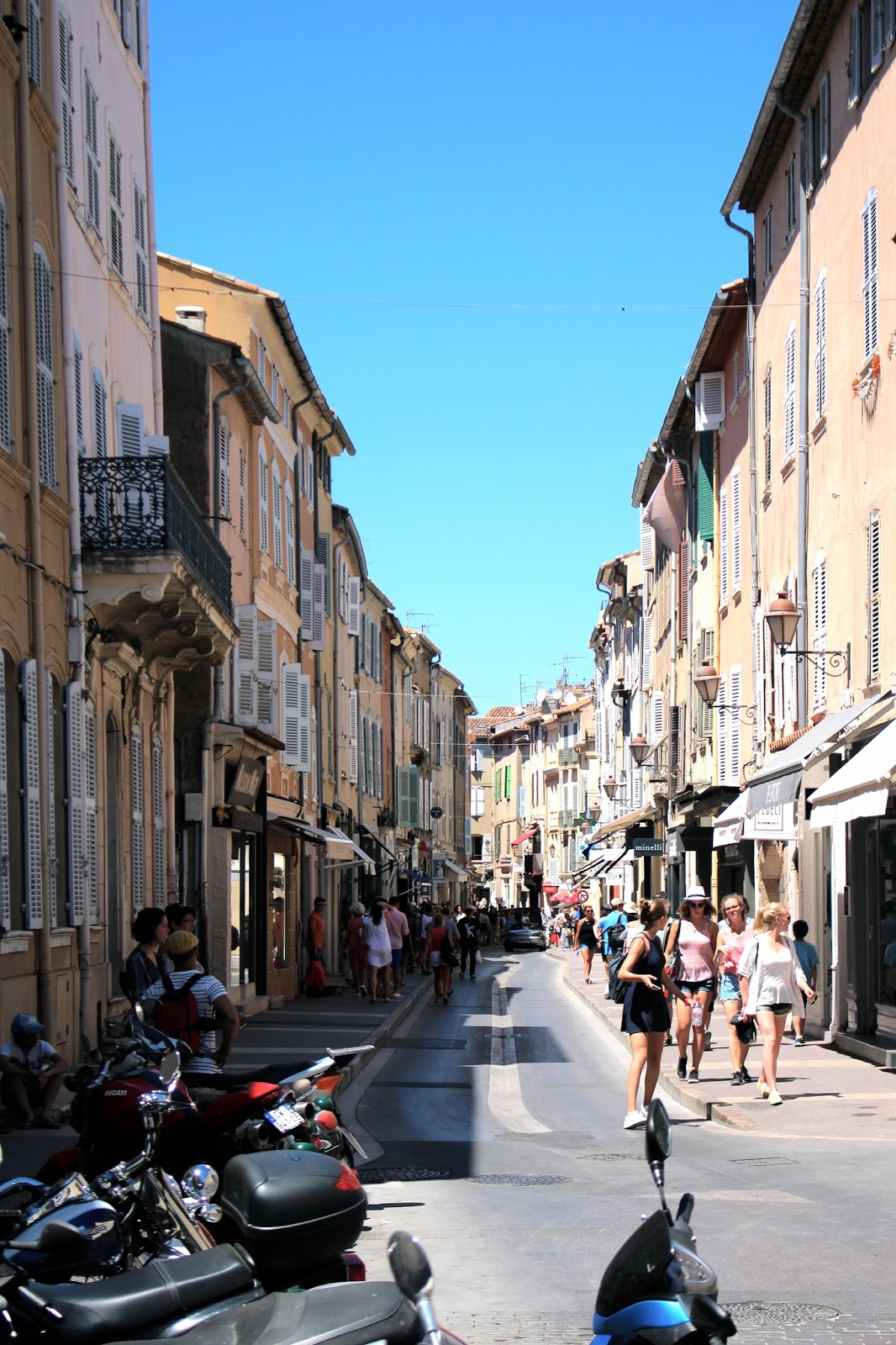 Famous pastel buildings streets of saint tropez