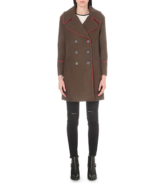 Mo&co military coat, khaki red trim coat,