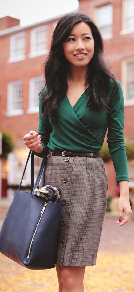 A Little green In autumn ivy wrap top And herringbone skirt by Extra Petite