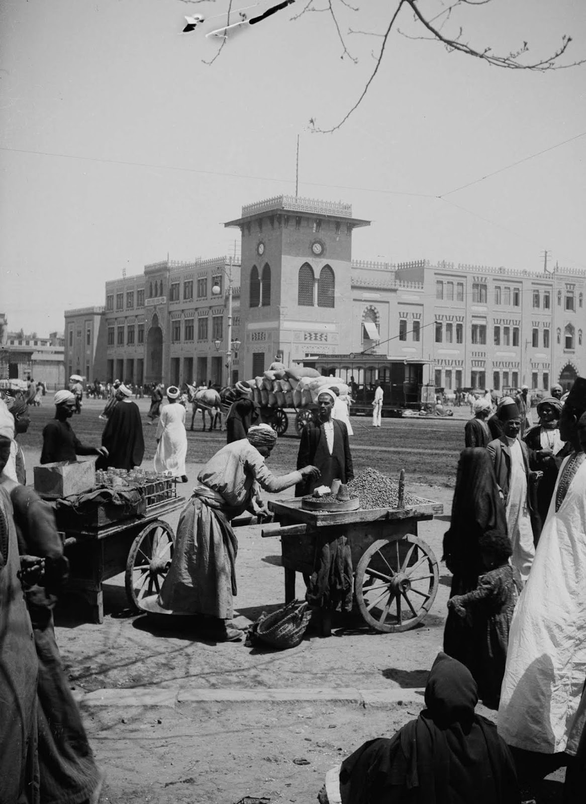 Outside the Cairo railway station. 1900.