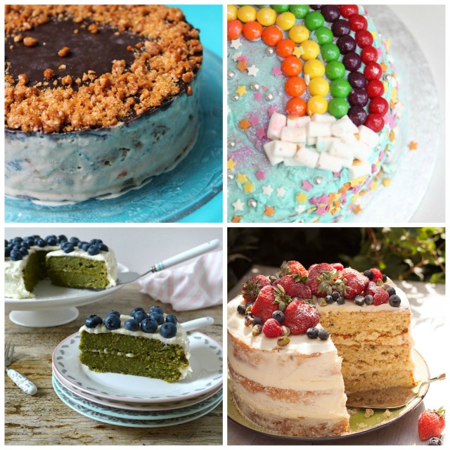Cake recipes - Butterscotch Ice Cream Cake, Skittles Rainbow Cake, Pistachio and Lime Cake with Summer Berries, Kale Apple Cake