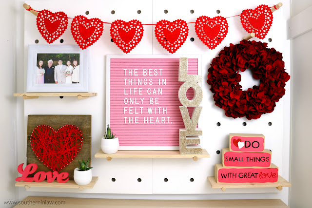 Valentine's Day Home Decor Styling – Kmart Peg Board Styling Inspiration - easy valentine's decoration ideas, red pink home decor theme