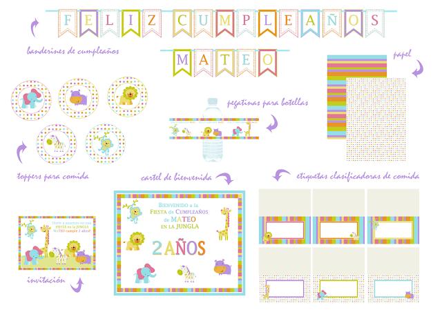 Imprimible decoración de fiesta niño - fiesta en la Jungla