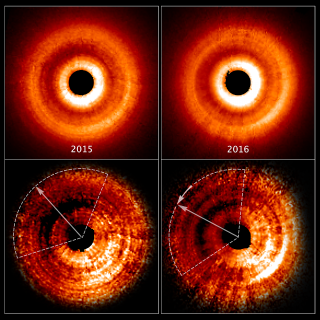 Hubble captures 'shadow play' caused by possible planet