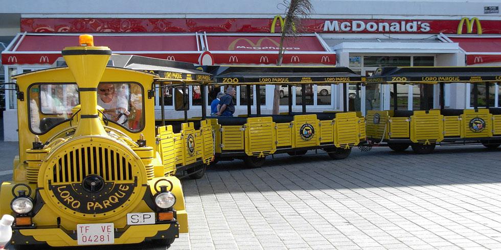 Trenecito del Loro Parque en su salida de Plaza Reyes Católicos