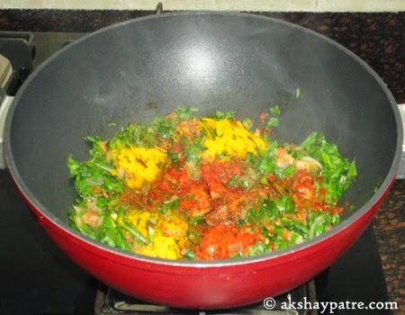 masala added for palak pulao recipe